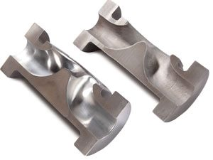 Cut away showing before and after polishing operation by Abrasive Flow Machining