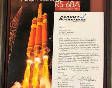 Appreciation from Aerojet Rocketdyne LR